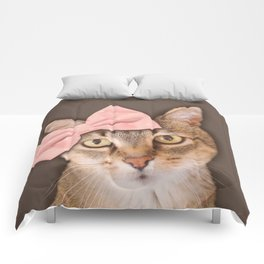Brown Tabby Cat with Soft Pink Bow Comforters