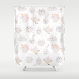 Pastel pink gray cute magical funny unicorn animals Shower Curtain