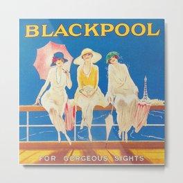 Blackpool, England Vintage Travel Poster Metal Print
