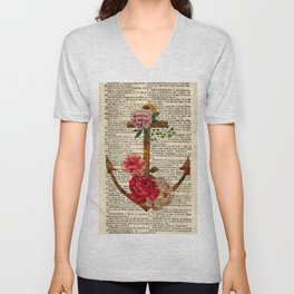 Vintage Anchor with Flowers Dictionary Art Unisex V-Neck