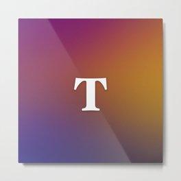 Monogram Letter T Initial Orange & Yellow Vaporwave Metal Print
