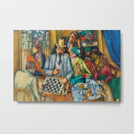Chess Players, Paris, France, French Cafes, Left Bank, 1913 by Henryk Hayden Metal Print