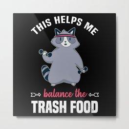 Gym Trash Panda Funny Raccoon Workout Metal Print