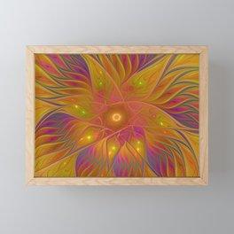 Colorful and Luminous Flower, Abstract Fractal Art Framed Mini Art Print