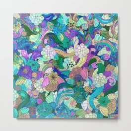 Colorful Wild Flowers Collage Metal Print