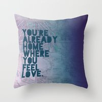 home sweet home Throw Pillows featuring Home by Leah Flores