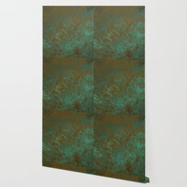 Green Patina Copper rustic decor Wallpaper