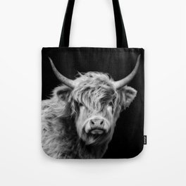 Highland Cow Black And White Tote Bag