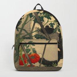 Shotei Takahashi Black & White Cat Tomato Garden Japanese Woodblock Print Backpack