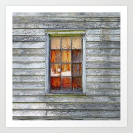 Barn Window with Plywood Art Print