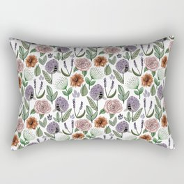 White Field Of Flowers Watercolour Pattern Rectangular Pillow