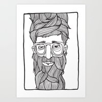 beard Art Prints featuring Beard by Lawerta
