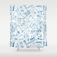 school Shower Curtains featuring School chemical #4 by Juliana RW