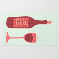 wine Area & Throw Rugs featuring Wine by Cat Coquillette