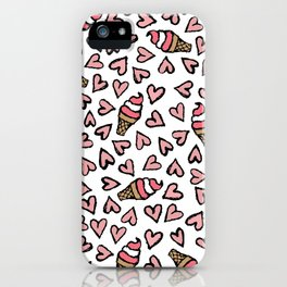 Cute Pink Hearts and Ice Cream Cones Illustrations iPhone Case