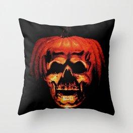 Halloween II Pumpkin Skull Stained Glass Throw Pillow
