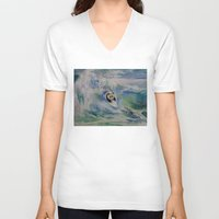 surfer V-neck T-shirts featuring Panda Surfer by Michael Creese