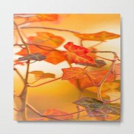 Orange Leaves of Ivy - Autumn Scene #decor #society6 #buyart Metal Print