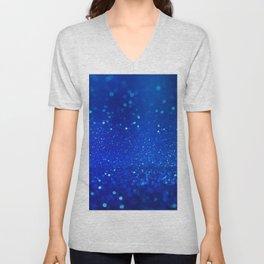 Abstract blue bokeh light background Unisex V-Neck