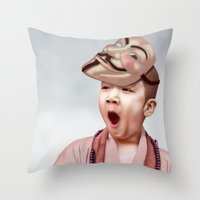 vendetta Throw Pillows featuring Robin Vendetta by Mirko Richter Grafik