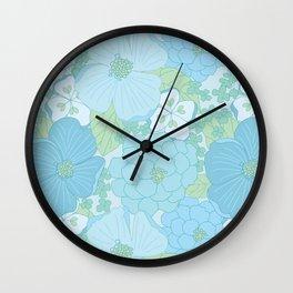 Light Blue Pastel Vintage Floral Pattern Wall Clock