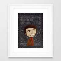 sagan Framed Art Prints featuring Carl Sagan by Stephanie Fizer Coleman