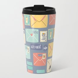 Retro styled pattern with letters and postcards Travel Mug