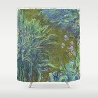 monet Shower Curtains featuring Irises by Claude Monet by Palazzo Art Gallery
