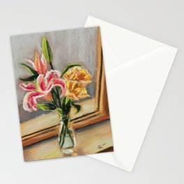 Pastel Painting | Flowers on the windowsill Stationery Cards