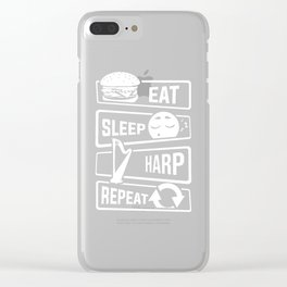 Eat Sleep Harp Repeat - Stringed Instrument Music Clear iPhone Case