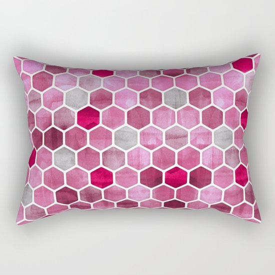 Pink Ink - watercolor hexagon pattern Rectangular Pillow