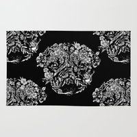 botanical Area & Throw Rugs featuring Botanical Garden Pug by Huebucket