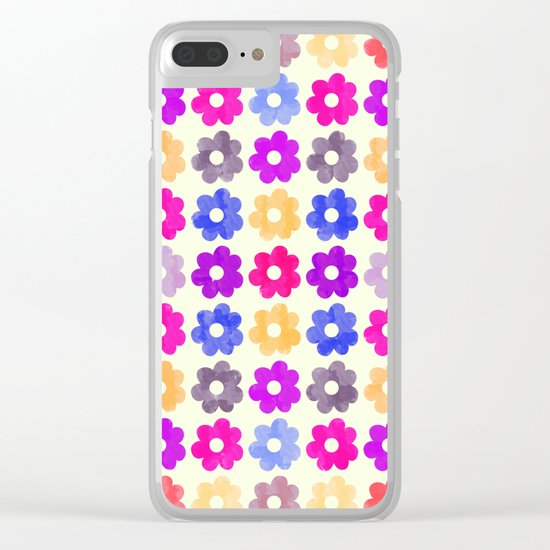 Colorful Floral Pattern II Clear iPhone Case
