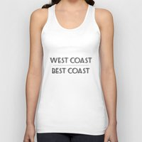 west coast Tank Tops featuring West Coast Best Coast by Emma Reif Design