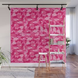 Army Camouflage Pink Pattern Background Wall Mural