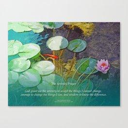 Serenity Prayer Koi Pond Lotus Canvas Print
