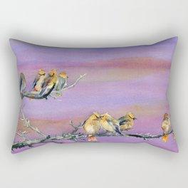 Bohemian Waxwings Birds Rectangular Pillow