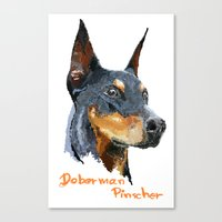 doberman Canvas Prints featuring Doberman by Det Tidkun