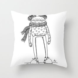 Betty in black and white Throw Pillow