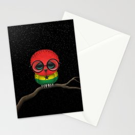 Baby Owl with Glasses and Ghana Flag Stationery Cards
