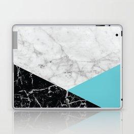 White Marble - Black Granite & Teal #871 Laptop & iPad Skin