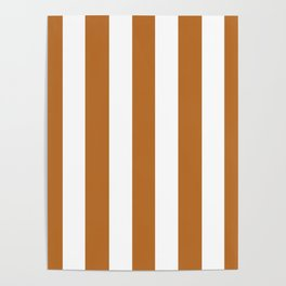 Liver (dogs) brown - solid color - white vertical lines pattern Poster