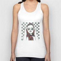 polka dot Tank Tops featuring Vintage Polka Dot Beauty  by Lucy Schmidt Art