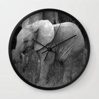 baby elephant Wall Clocks featuring Baby Elephant by C. Bright