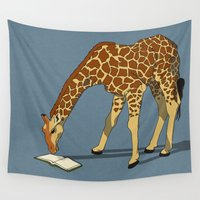 reading Wall Tapestries featuring Reading Giraffe by Ursula Rodgers