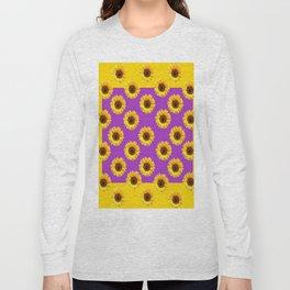 Golden & Purple Yellow Sunflowers Pattern Art Long Sleeve T-shirt