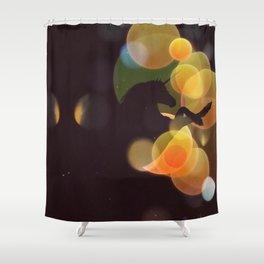 Unicorn silhouette with yellow bokeh Shower Curtain