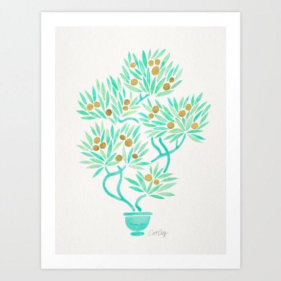 Bonsai Tree – Mint & Gold Art Print