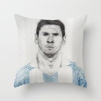messi Throw Pillows featuring Lio Messi by Alan Myers