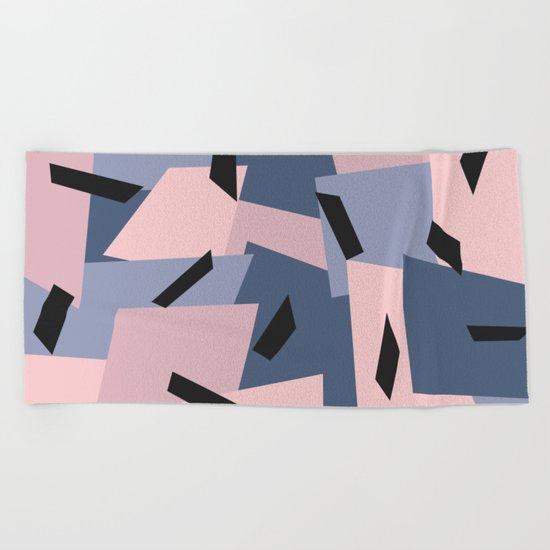 Patches Abstract Pattern Black, Blue, Pink, Gray Beach Towel